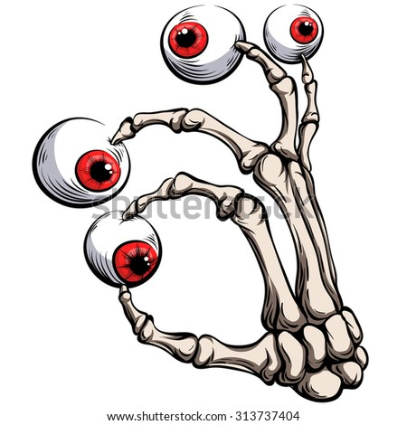 Skeleton palm with eye on white background.