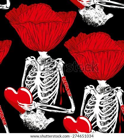 skeleton poppy - stock vector