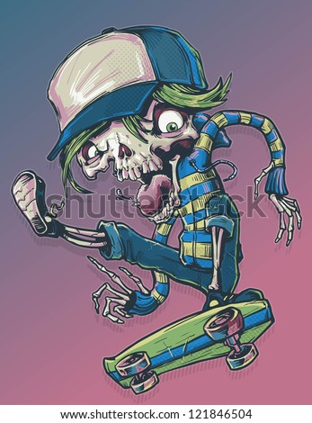 Skeleton Skateboarder - stock vector