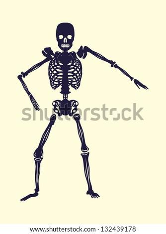 skeleton tattoo tribal skull vector art - stock vector