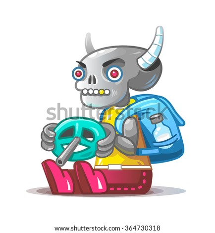 Skeleton traveler. Vector mascot.
