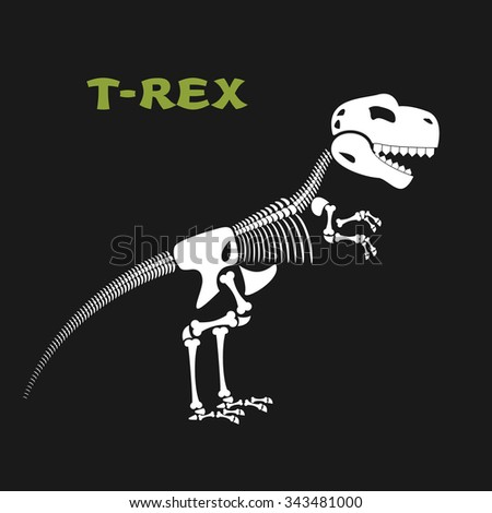 Skeleton tyrannosaurus Rex. Bones and skull of  dinosaur. Dead t-Rex. Ancient animal bones from Jurassic period. - stock vector