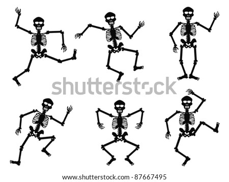 Skeletons dancing - stock vector