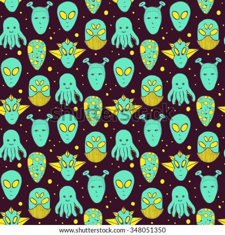 Sketch aliens faces pattern in vintage style, vector - stock vector