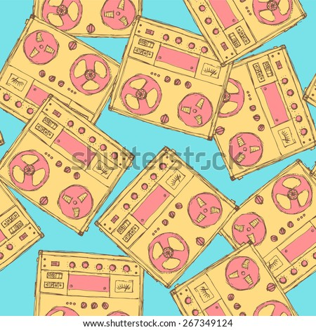 Sketch analog recorder in vintage style, vector seamless pattern - stock vector