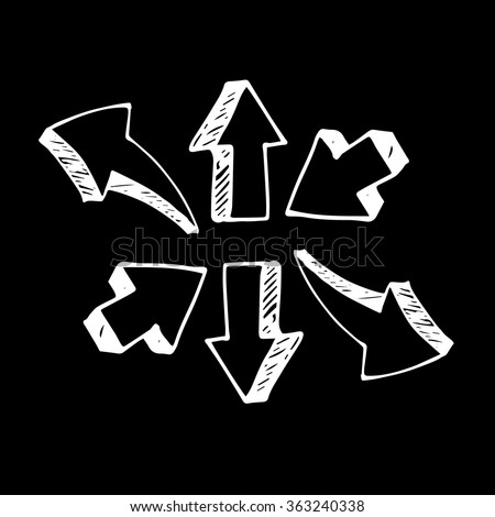 Sketch arrow collection for your design. Arrows and Lines. vector arrows on a gray background. Set of different vector arrows - stock vector