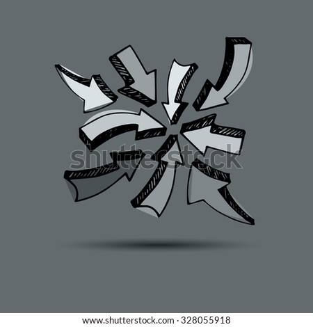 Sketch arrow collection for your design. vector arrows on a gray background. Set of different vector arrows - stock vector
