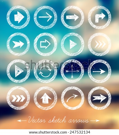Sketch arrow collection for your design. Vector sketch illustration. Sketch arrows on blurred background with seashore. - stock vector