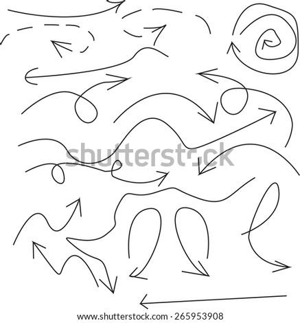 sketch arrows - stock vector