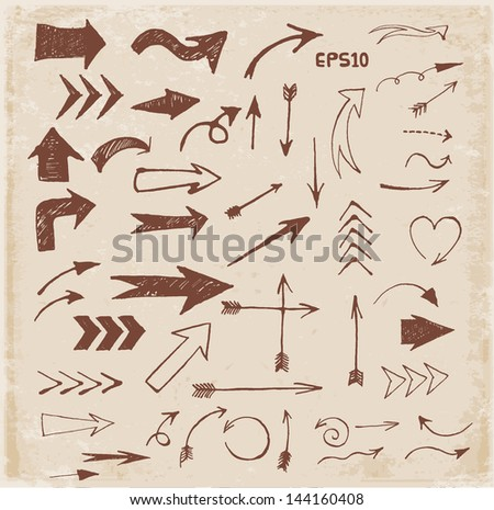 Sketch arrows in vintage style for your design. Vector illustration. - stock vector