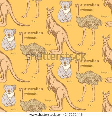 Sketch Australian animals in vintage style, vector seamless pattern - stock vector