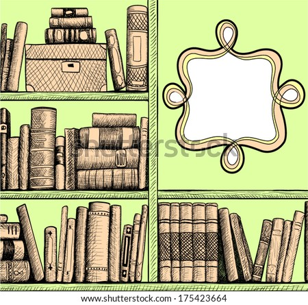 Sketch background with a book shelves - stock vector