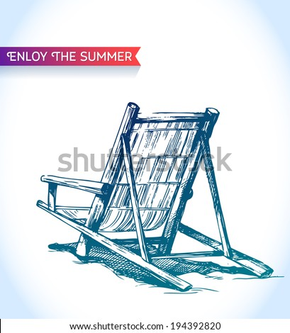 Sketch beach lounger chair of bamboo strips with ribbon on paper background