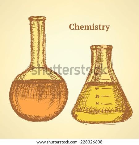 Sketch beaker in vintage style, vector background  - stock vector