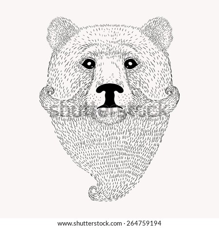 Sketch Bear with a beard and moustache. Hand drawn vector  illustration in Doodle style. - stock vector