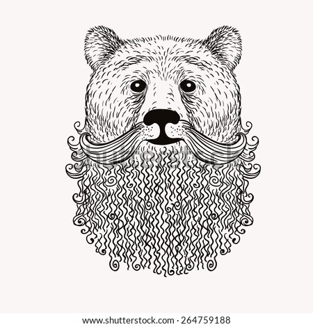 Sketch Bear with a beard. Hand drawn vector  illustration. Doodle style. - stock vector