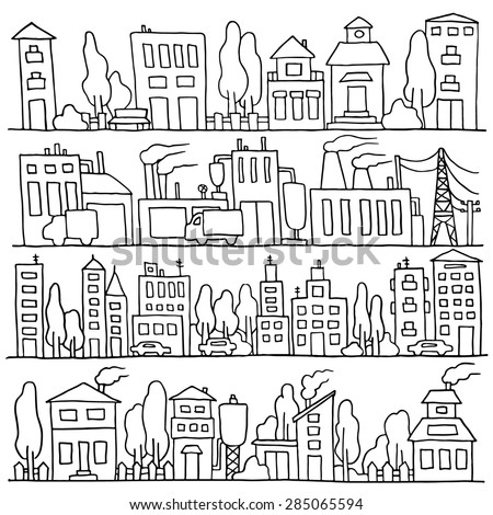 Sketch big city architecture with houses, factory, trees, cars. Panorama set of streets in a row. Hand-drawn vector illustration isolated on white and organized in groups for easy editing. - stock vector