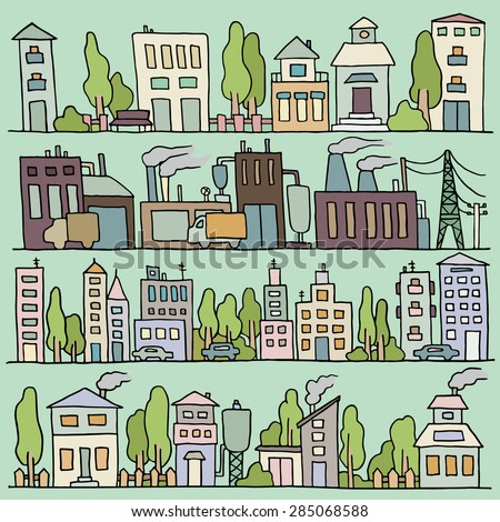 Sketch big city architecture with houses, factory, trees, cars. Panorama set of streets in a row. Hand-drawn vector colored illustration organized in groups for easy editing. - stock vector