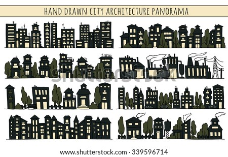 Sketch big city architecture with night black houses, factory, trees, cars. Panorama set of streets in a row. Hand-drawn vector illustration isolated on white and organized in groups for easy editing. - stock vector