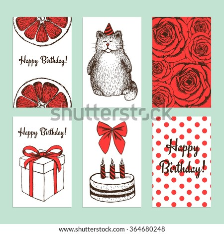 Sketch Birthday cards in vintage style, vector - stock vector