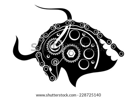 Sketch black of a bull isolated on a white background. Trademark farm. Vector illustration. - stock vector