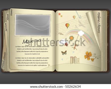 SKETCH BOOK, WEBSITE TEMPLATE. Editable vector illustration file.  - stock vector