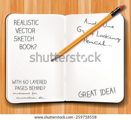 Sketch book with pencil on wooden desk. Layered vector graphic, with each object as separate layer, including 30  pages, each one as a different layer , ready for easy animation. - stock vector