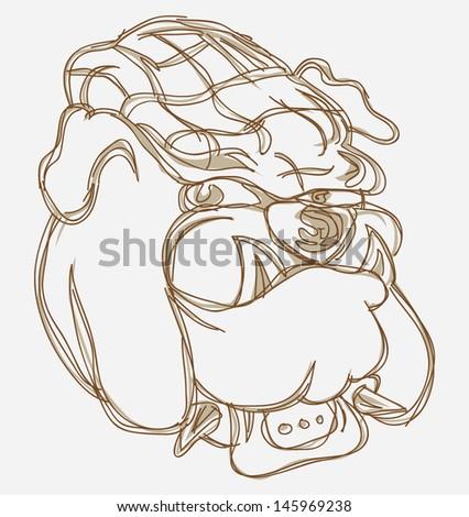 sketch bulldog head - stock vector