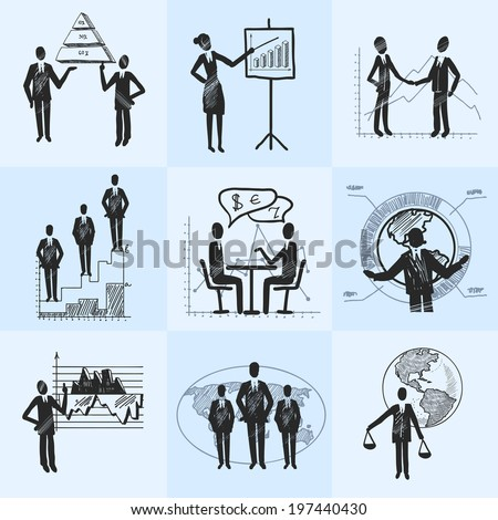 Sketch business people organization management composition icons set isolated doodle vector illustration - stock vector