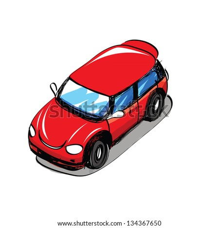 Sketch car - Hand drawn - stock vector