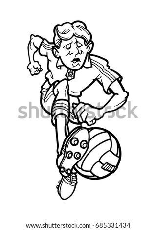 Sketch caricature of football player in cartoon vector illustration.