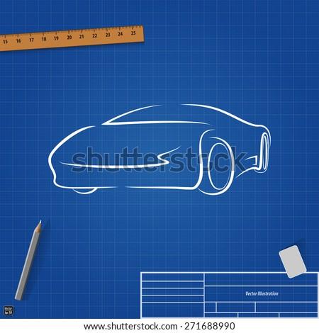 Sketch cars on blueprint background vector stock vector royalty sketch cars on blueprint background vector illustration malvernweather Gallery