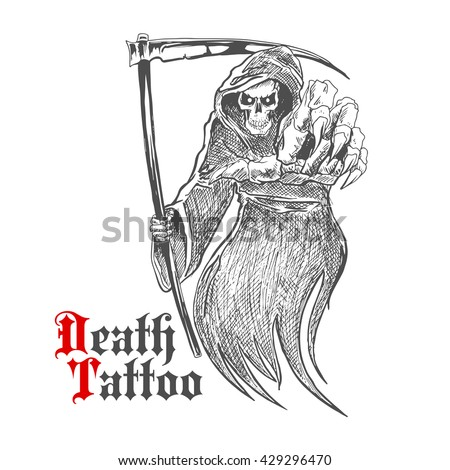 Sketch cartoon dreadful grim reaper in old hooded cloak with scythe pointing at viewer. Death or skeleton monster character for t-shirt print or tattoo design usage - stock vector