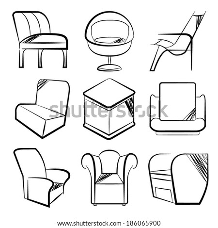 sketch chair icons set, sofa set - stock vector