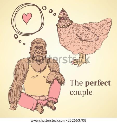 Sketch chicken and gorilla in vintage style, vector - stock vector