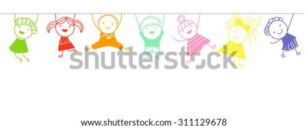 Sketch children - stock vector