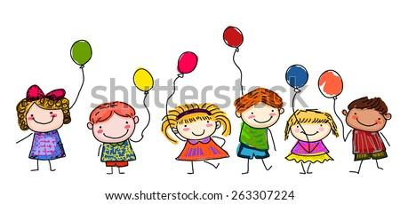 Sketch children with balloon - stock vector