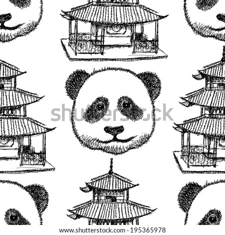 Sketch Chinese temple and panda, vector vintage seamless pattern