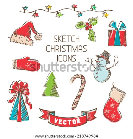 Sketch Christmas icons. Hand-drawn retro Christmas objects for your design isolated on white background. - stock vector