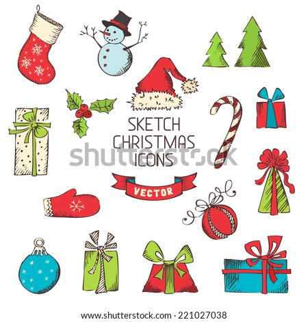 Sketch Christmas icons. Hand-drawn vintage Christmas objects for your design isolated on white background. - stock vector