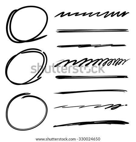 sketch circle and underline set - stock vector