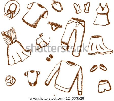 Sketch clothes seamless pattern - stock vector