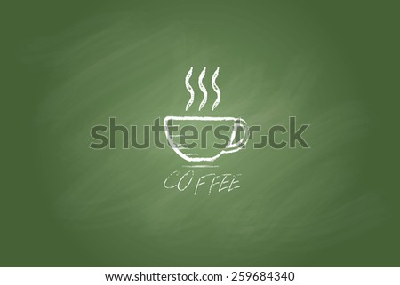 Sketch coffee cup on chalkboard background .Vector illustration.  - stock vector