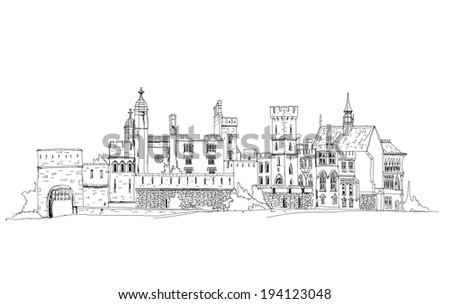 Sketch collection, Alton towers, old English castel - stock vector