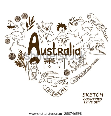 Sketch collection of Australian symbols in heart shape concept. Travel background - stock vector