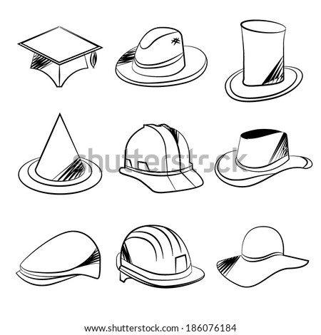 sketch collection of hats - stock vector