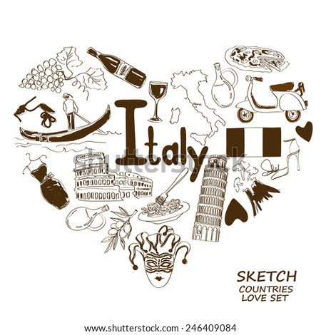 Sketch collection of Italian symbols. Heart shape concept. Travel background - stock vector