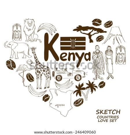 Sketch collection of Kenyan symbols. Heart shape concept. Travel background - stock vector