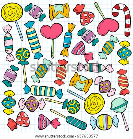 Sketch colored candies and lollipops pattern of different flavors and shapes on note paper background vector illustration