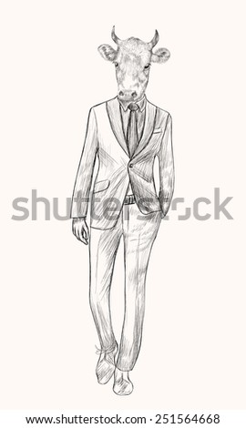 Sketch Cow in Hipster Suit. Businessman style. Hand drawn illustration. - stock vector
